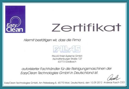 Zertifikat über die alleinige deutsche Generalvertretung von Eazyclean durch PALLAS
